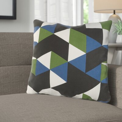 Arsdale Geometric Cotton Throw Pillow Color: Blue/ Green/ Black