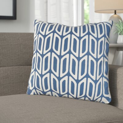Arsdale Contemporary Cotton Throw Pillow Color: Navy/ White
