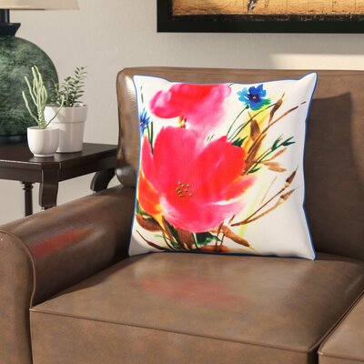 Uri Botanical Mix Watercolor Floral Indoor/Outdoor Throw Pillow