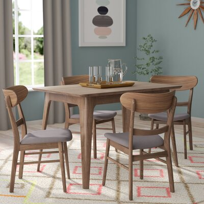 Yolanda 5 Piece Wood Dining Set Table Finish: Natural Walnut, Chair Finish: Dark Gray