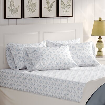 Albright 6 Piece Comfort Wash Cotton Sheet Set Size: Queen, Color: Blue