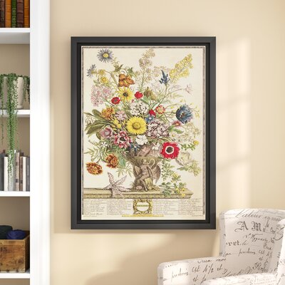 'November from Twelve Months of Flowers' Framed Graphic Art Size: 48