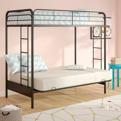 Sanders Twin Over Full Futon Bunk Bed Color: Black