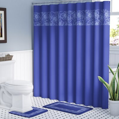 Berlin Shower Curtain Set Color: Navy/Light Blue