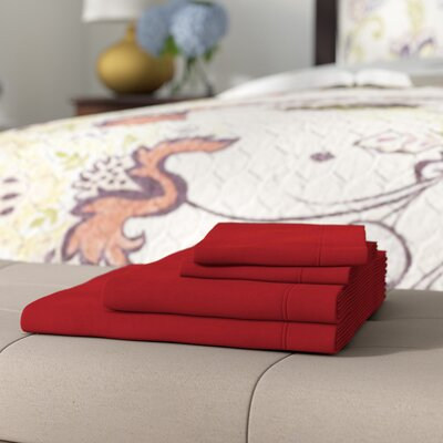 Cullen 4 Piece Solid Cotton Flannel Sheet Set Color: Burgundy, Size: Queen