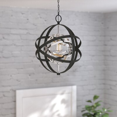 Hawaiian Gardens 1-Light Globe Pendant Finish: Polished Chrome/Black, Size: 117.75 H x 18 W x 18 D