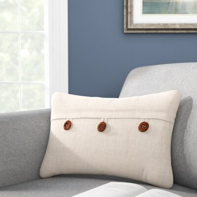 Fleming Button Envelope Linen/Cotton Lumbar Pillow Color: Natural