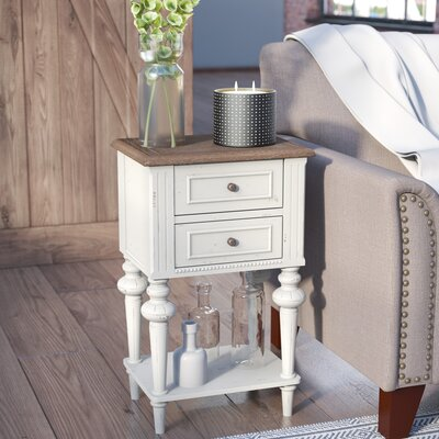 Saire Indoor 2 Drawer End Table Finish: Antique White