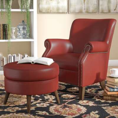 Keeter Armchair and Ottoman Upholstery: Red