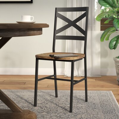 Madelyn Metal X-Back Wood Side Chair Finish: Barnwood