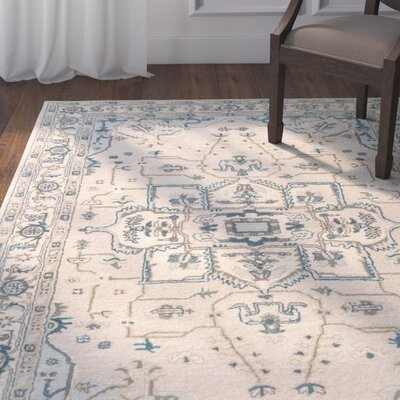 Victoire Hand-Tufted Taupe/Blue Area Rug Rug Size: Rectangle 8 x 10