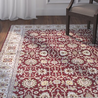 Adkisson Red Area Rug Rug Size: 53 x 76