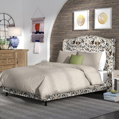 Elisamarie Wingback Linen Upholstered Panel Bed Size: Queen