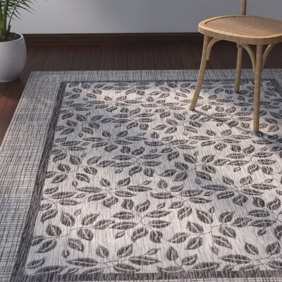Key Haven Ivory/Charcoal Indoor/Outdoor Area Rug Rug Size: Rectangle 36 x 56