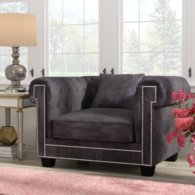 Hilaire Chesterfield Chair Chair Upholstery: Gray