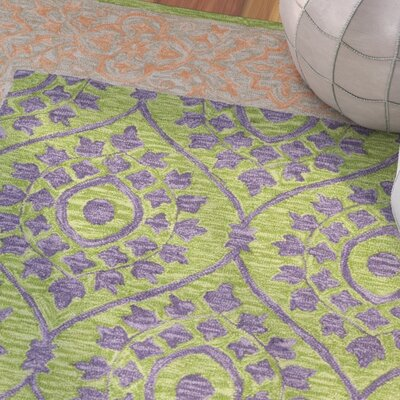 Tomo Hand-Hooked Green Area Rug Rug Size: Rectangle 4 x 6