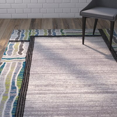 Verville Gem Border Gray Area Rug Rug Size: Rectangle 8 x 10