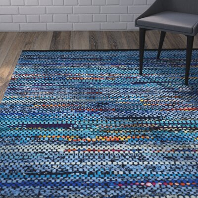 Shatzer Hand-Woven Cotton Turquoise Area Rug Rug Size: Rectangle 6 x 9