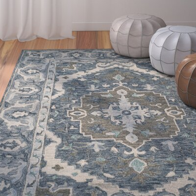 Chancellor Hand-Tufted Wool Dark Blue Area Rug Rug Size: Round 7