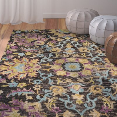 Broadmoor Hand-Tufted Wool Charcoal Area Rug Rug Size: Square 6