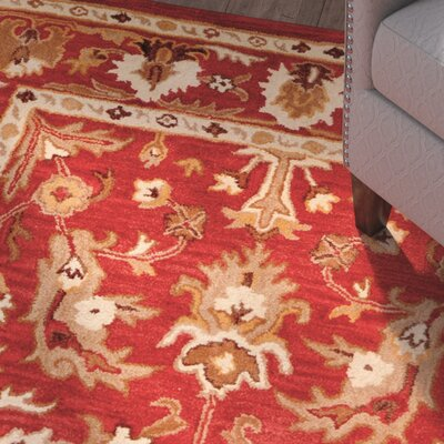 Petra Hand-Tufted Red Area Rug Rug Size: 5 x 8