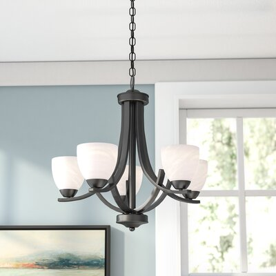 Finn 5-Light Shaded Chandelier Finish: Bronze, Shade Color: White Swirl Alabaster