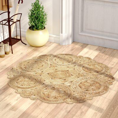 Nesrine Jute Hand-Woven Natural Area Rug Rug Size: Round 4