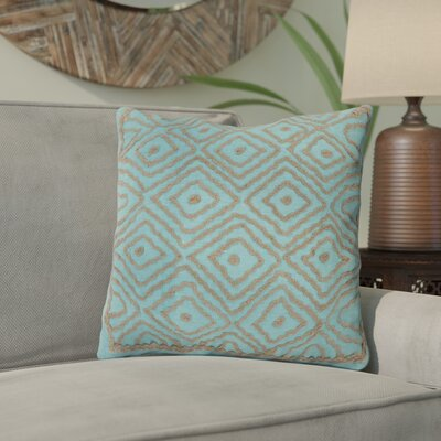 Marcos Diamond Throw Pillow Size: 18 H x 18 W x 4 D, Color: Robins Egg Blue / Driftwood Brown, Filler: Down
