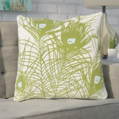Wingert Peacock Cotton Throw Pillow Color: Green, Fill Material: Polyester