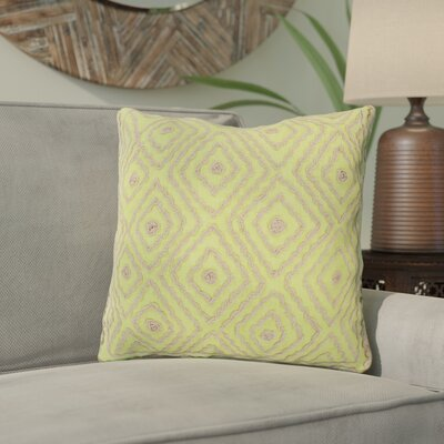 Marcos Diamond Throw Pillow Size: 18 H x 18 W x 4 D, Color: Chartreuse / Olive Gray, Filler: Down