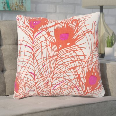 Wingert Peacock Cotton Throw Pillow Color: Orange, Fill Material: Down