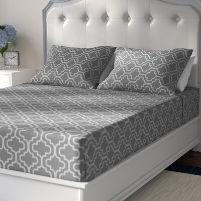 Cullen 4 Piece Geometric Cotton Flannel Sheet Set Size: Queen, Color: Gray Trellis