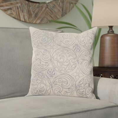 Ari Circles of Scroll Cotton Throw Pillow Size: 18, Color: Parchment/Ink, Filler: Down