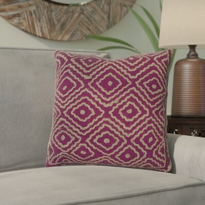 Marcos Diamond Throw Pillow Size: 20 H x 20 W x 4 D, Color: Bright Fuchsia / Olive Gray, Filler: Down