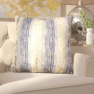 Ascot Place Metallic Jacquard Throw Pillow Color: Vintage Indigo Gold