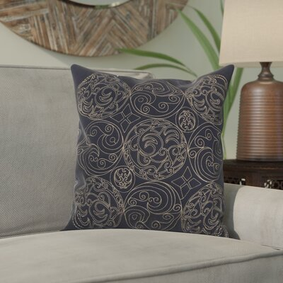 Ari Circles of Scroll Cotton Throw Pillow Size: 18, Color: Ink/Parchment, Filler: Down