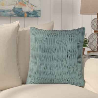 Elliott Ruched Poly Cotton Throw Pillow Color: Blue