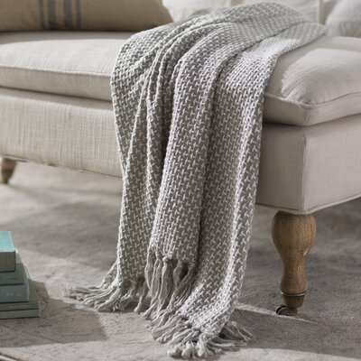 Leny Cotton Viscose Throw Blanket Color: Gray
