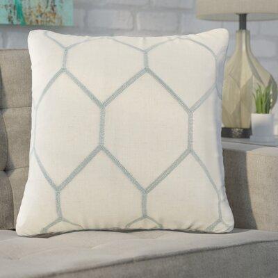 Heffington Metallic Geo Embroidered Throw Pillow Color: Aqua