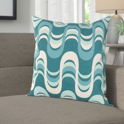 Arsdale Wave Cotton Throw Pillow Cover Color: Teal Multi