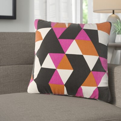 Arsdale Geometry Cotton Throw Pillow Color: Hot Pink/ Orange/ Black