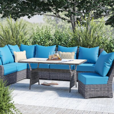 Valentin 8 Piece Deep Seating Group with Cushion Fabric: Spectrum Peacock