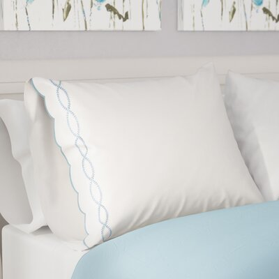 Annabelle Sateen Embroidered 400 Thread Count Garland Blue Pilllow Case Size: Standard