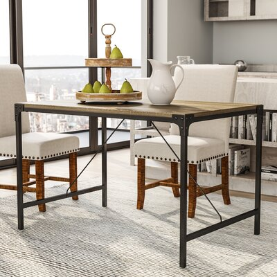Madeline Angle Iron and Wood Dining Table Finish: Barnwood