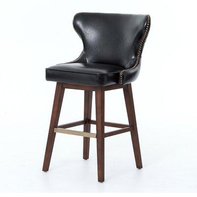 Silke Swivel Bar Stool Finish: Dark Brown, Upholstery: Leather - Black