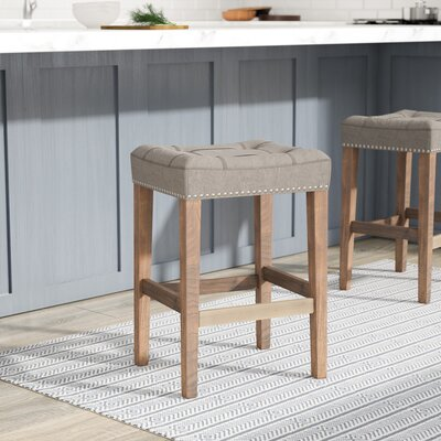 Mallory 26 Bar Stool Finish: Brown, Upholstery: Canvas - Dark Moon