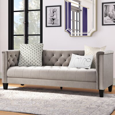 Broughtonville Tufted Chesterfield Sofa Color: Milky Beige