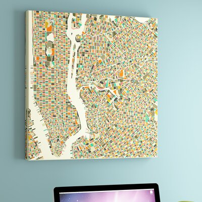 Abstract City Map of New York City by Jazzberry Blue Graphic Art on Wrapped Canvas Size: 18