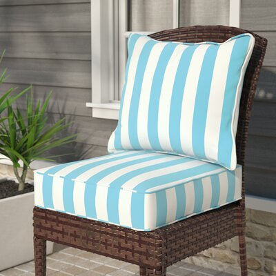 Fitzsimmons Corded Stripe 2 Piece Indoor/Outdoor Dining Chair Cushion Set