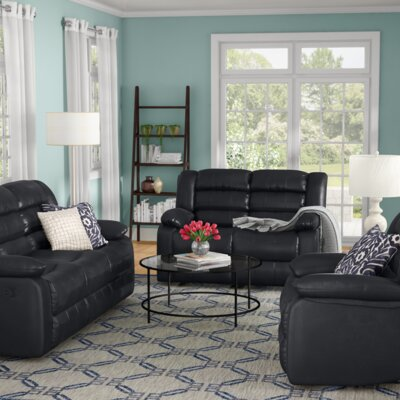 Hamlin 3 Piece Living Room Set Upholstery: Black